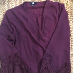 Silky Crossover Blouse with Bell Sleeves